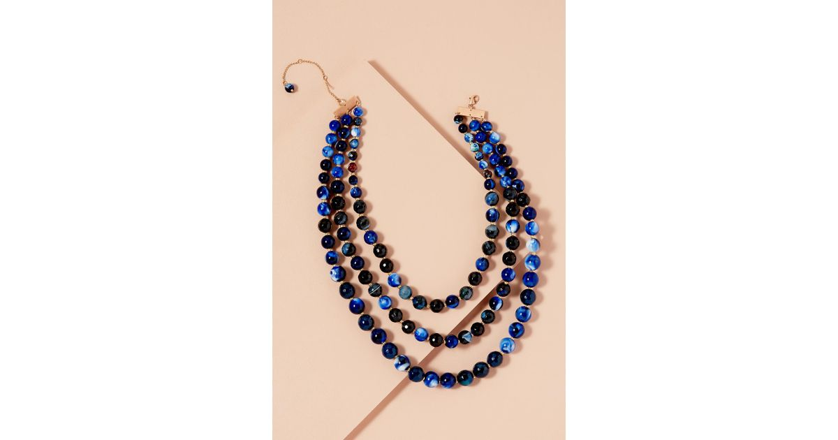 a180eb5434e112 Anthropologie Ilona Marbled Necklace in Blue - Lyst