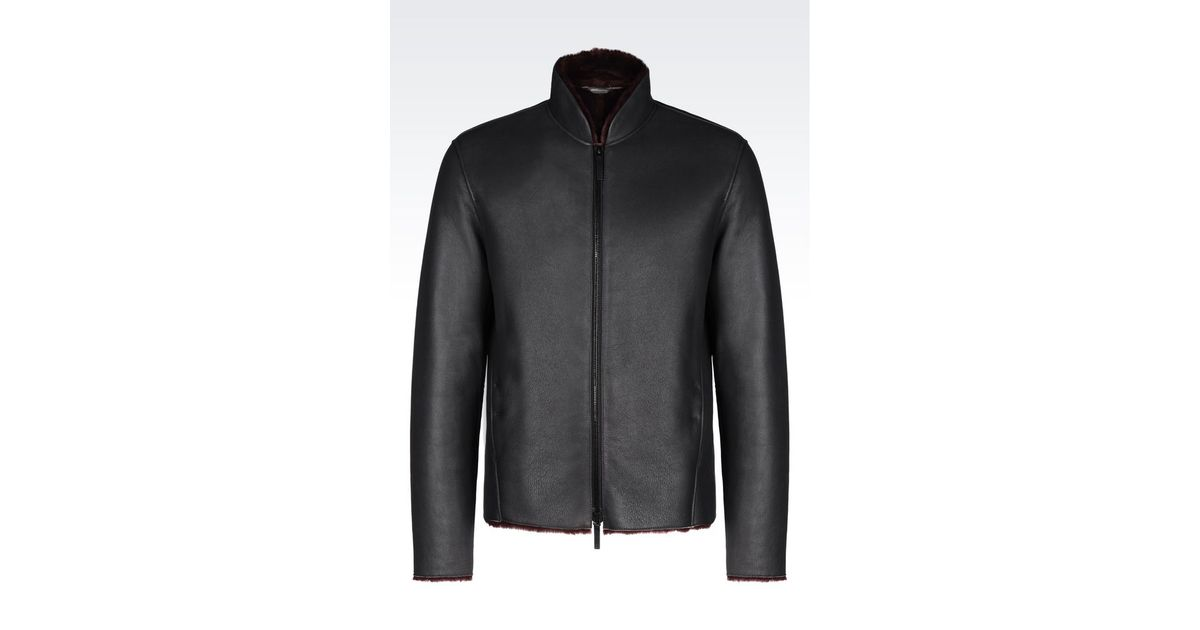 Armani Sheepskin Coat in Gray for Men | Lyst