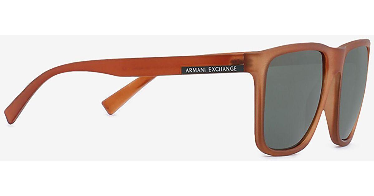 080d1a6d25f Lyst - Armani Exchange Translucent Orange Classic Sunglasses in Brown for  Men