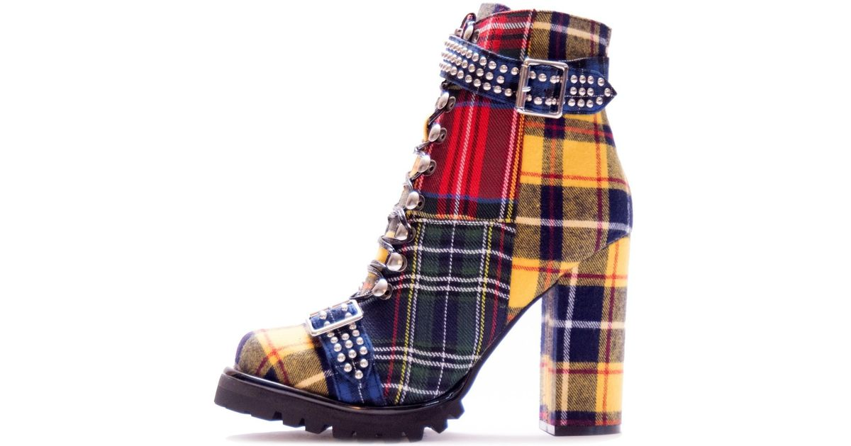 e737384a2804 Lyst - Jeffrey Campbell Lilith 2 Plaid in Blue