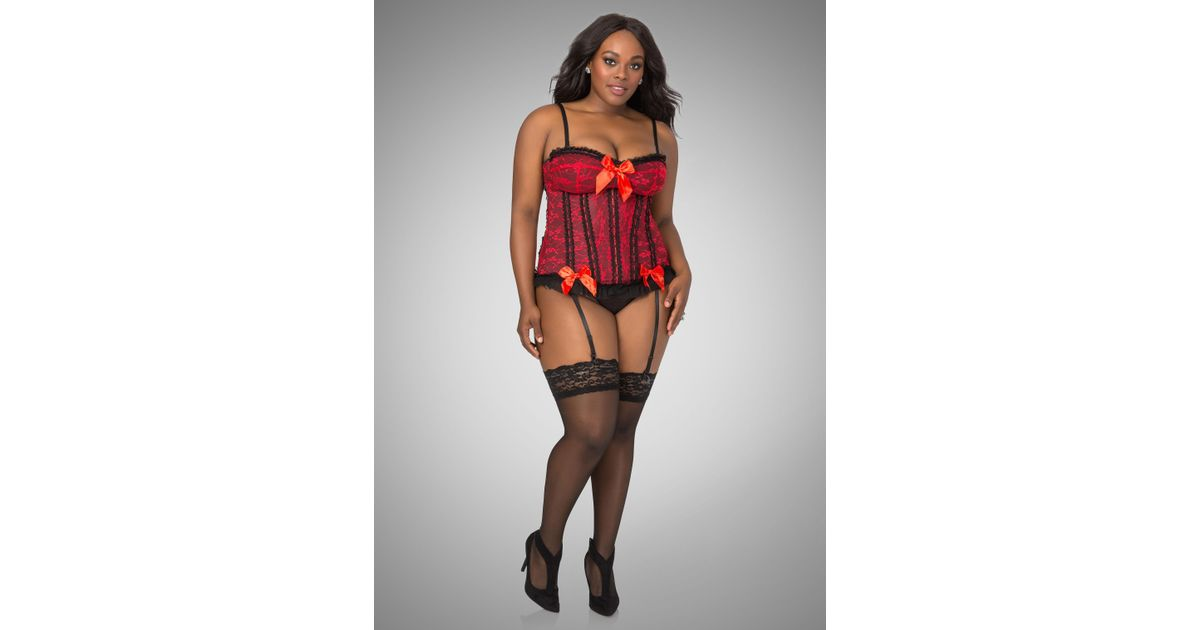 e13297649ee Lyst - Ashley Stewart Lace Satin Bow Corset Lingerie Set in Red
