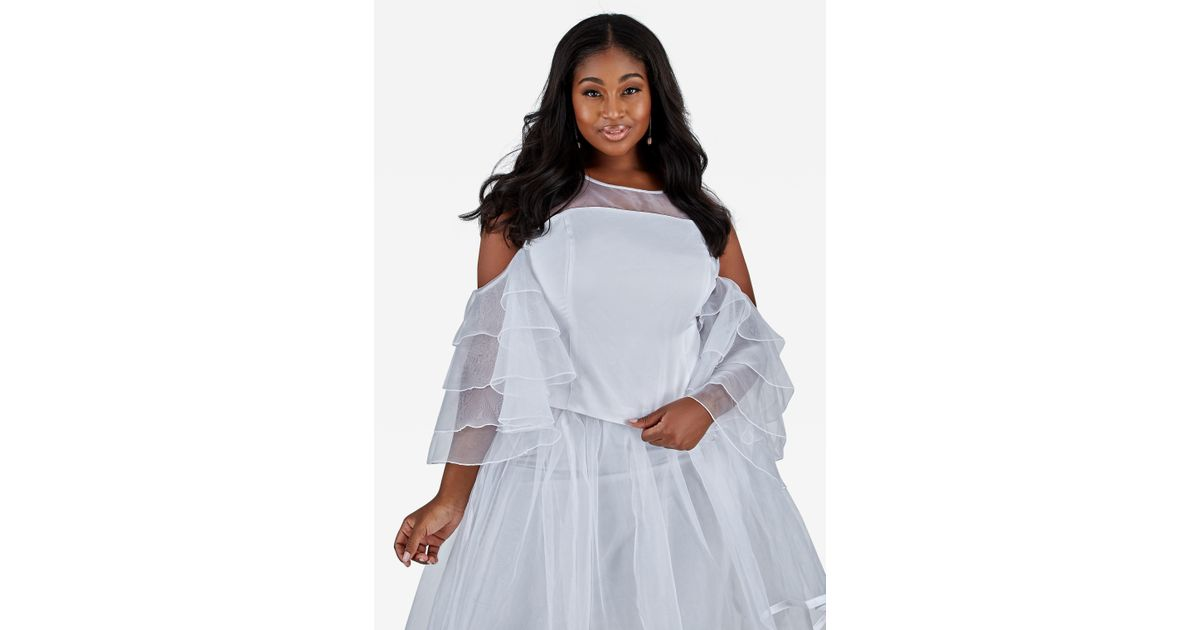 976488c5d89 Lyst - Ashley Stewart Plus Size Sheer Satin Cold Shoulder Top in White