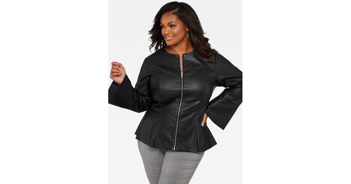 f3c2442c00c Lyst - Ashley Stewart Plus Size Collarless Faux Leather Jacket in Black