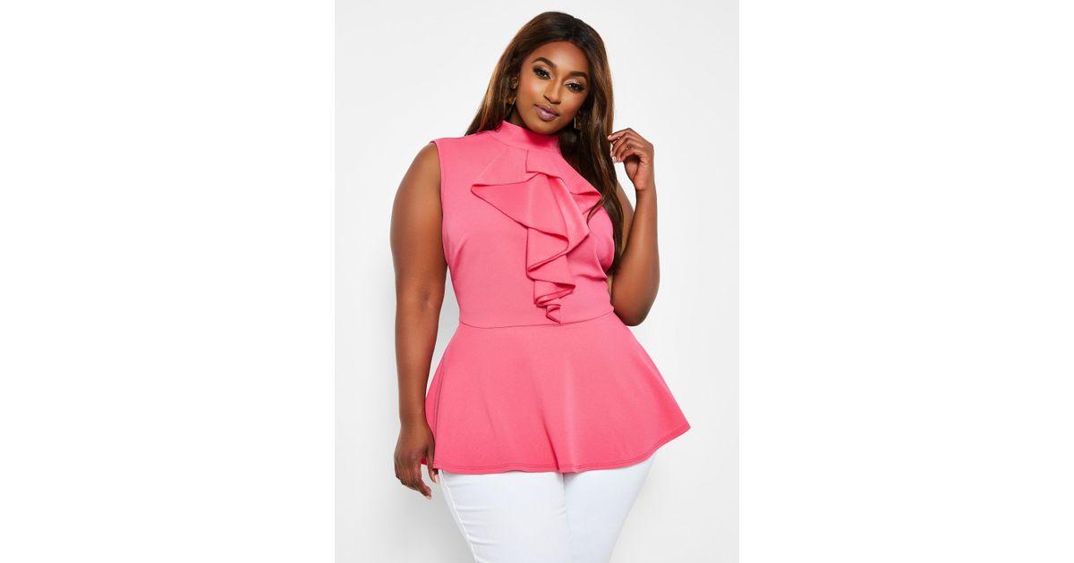 3942f860003 Lyst - Ashley Stewart Plus Size Sleeveless Ruffle Front Peplum Top in Pink