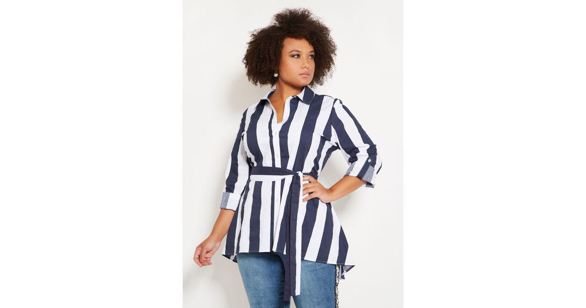 03d28c40922 Lyst - Ashley Stewart Plus Size Bold Stripe Belted Tunic Top in Blue