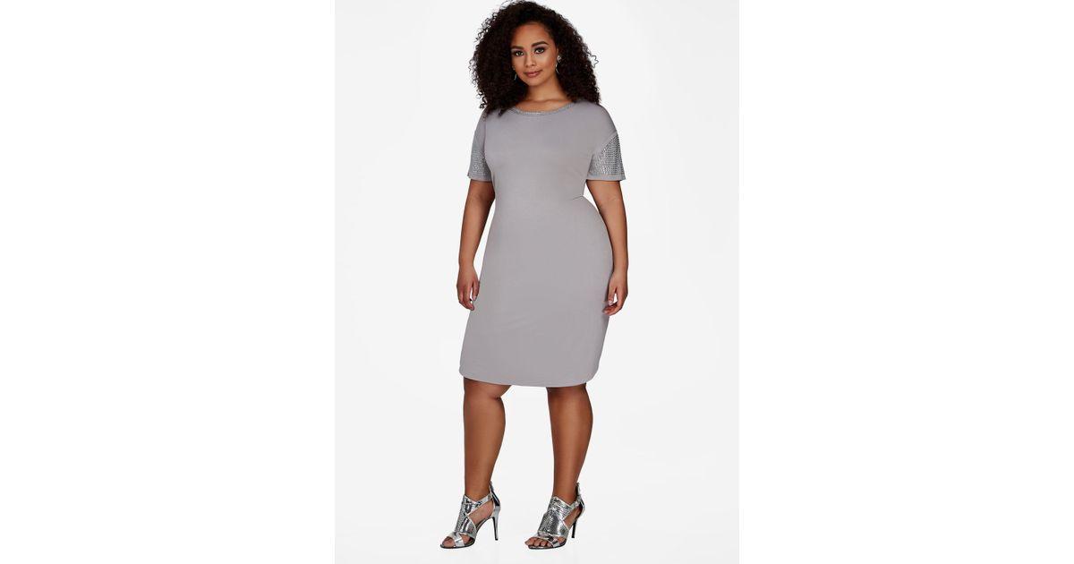 Lyst - Ashley Stewart Plus Size Studded Trim T Shirt Dress in Gray