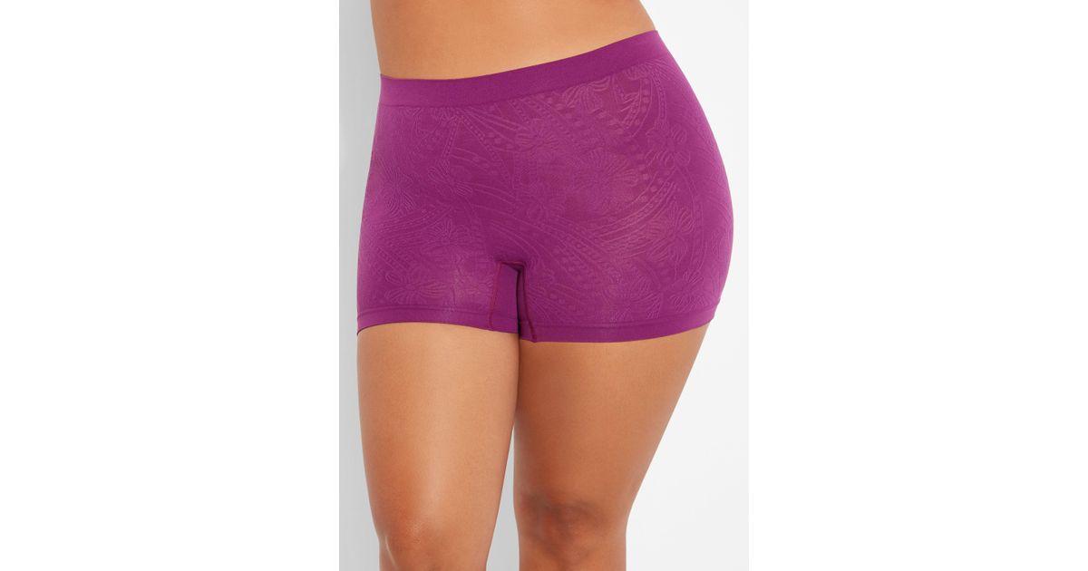 f42a96df8fb Lyst - Ashley Stewart Plus Size Seamless Jacquard Boyshort Panty in Purple
