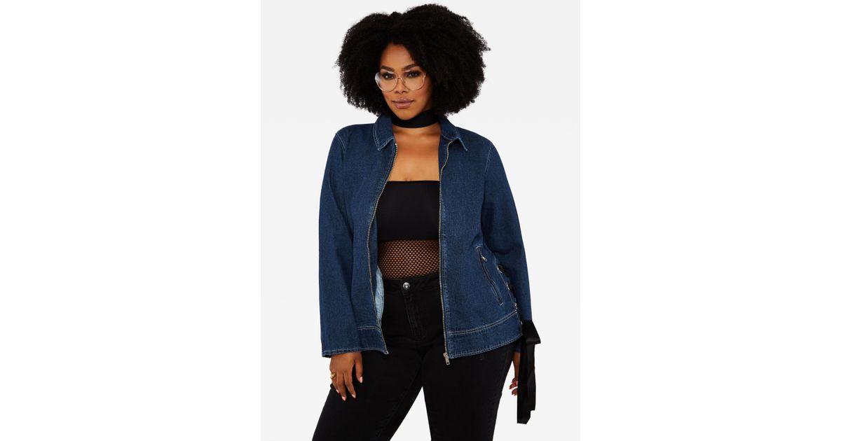 fbdb5ab5d0b Lyst - Ashley Stewart Plus Size Eyelet Ribbon Denim Jacket in Blue