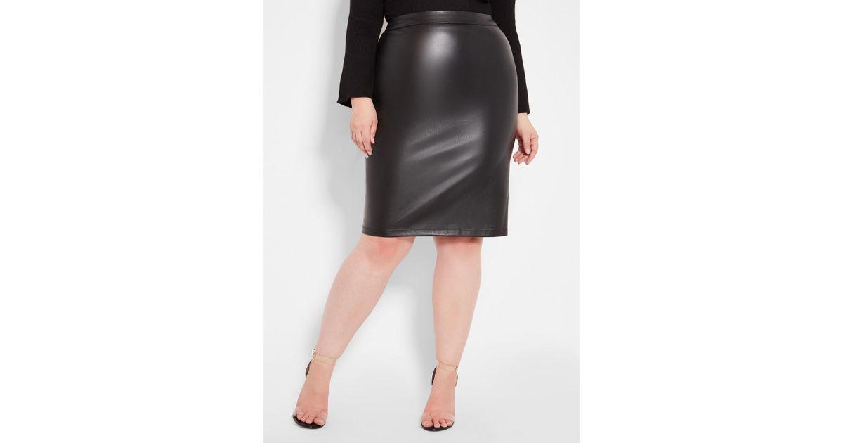 d7d94a7bbff19 Lyst - Ashley Stewart Plus Size Faux Leather Pencil Skirt in Black