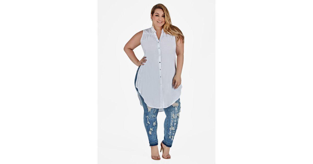 cf1fe869045 Lyst - Ashley Stewart Plus Size Sleeveless Button Up Tunic in White