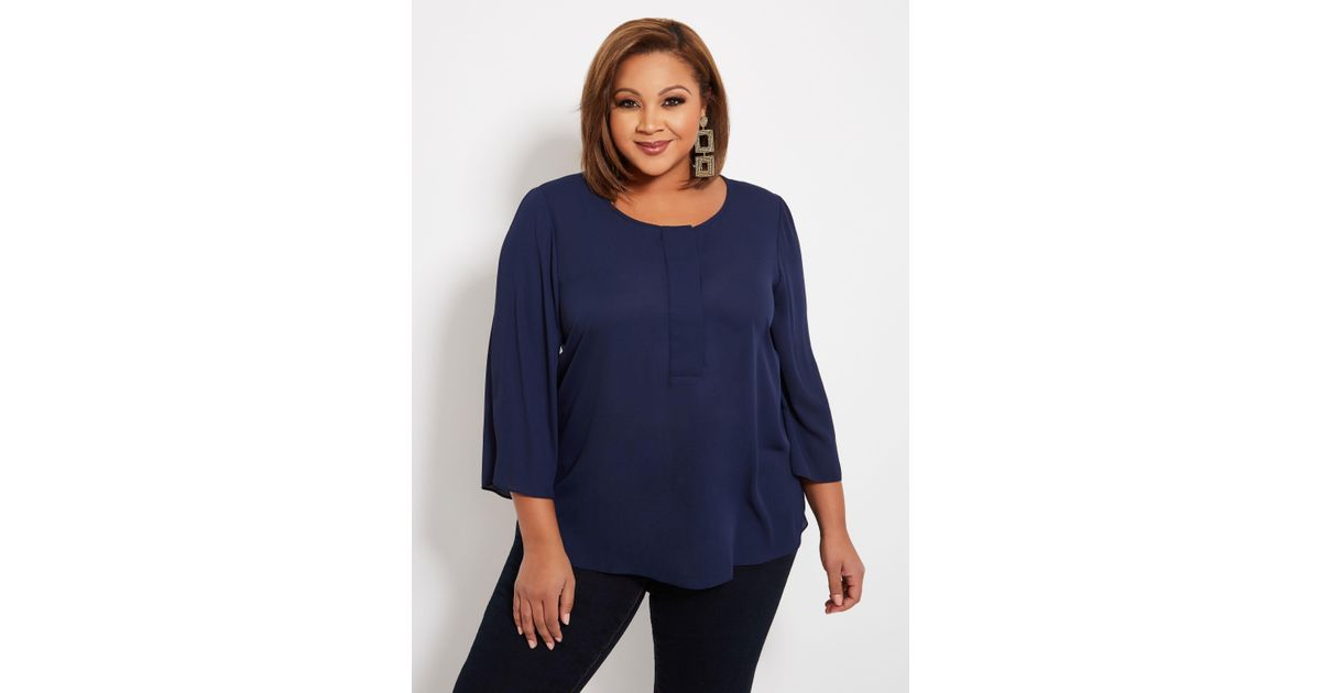 d6f23a5047f Lyst - Ashley Stewart Plus Size Tall Half Placket Pullover Blouse in Blue