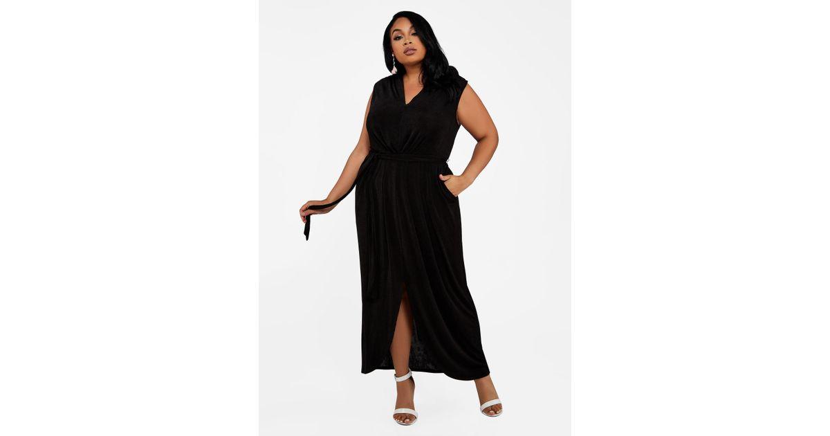 eeee8a750d5 Lyst - Ashley Stewart Plus Size Sleeveless Tulip Hem Maxi Dress in Black