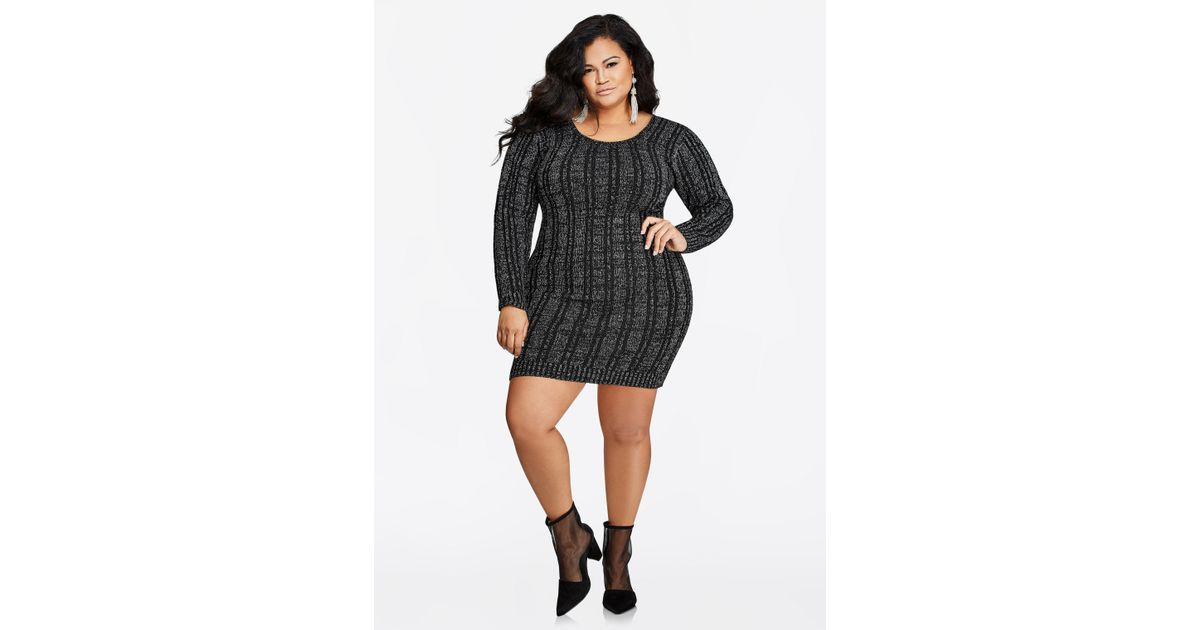 Lyst Ashley Stewart Ribbed Lace Up Back Sweater Dress In Black