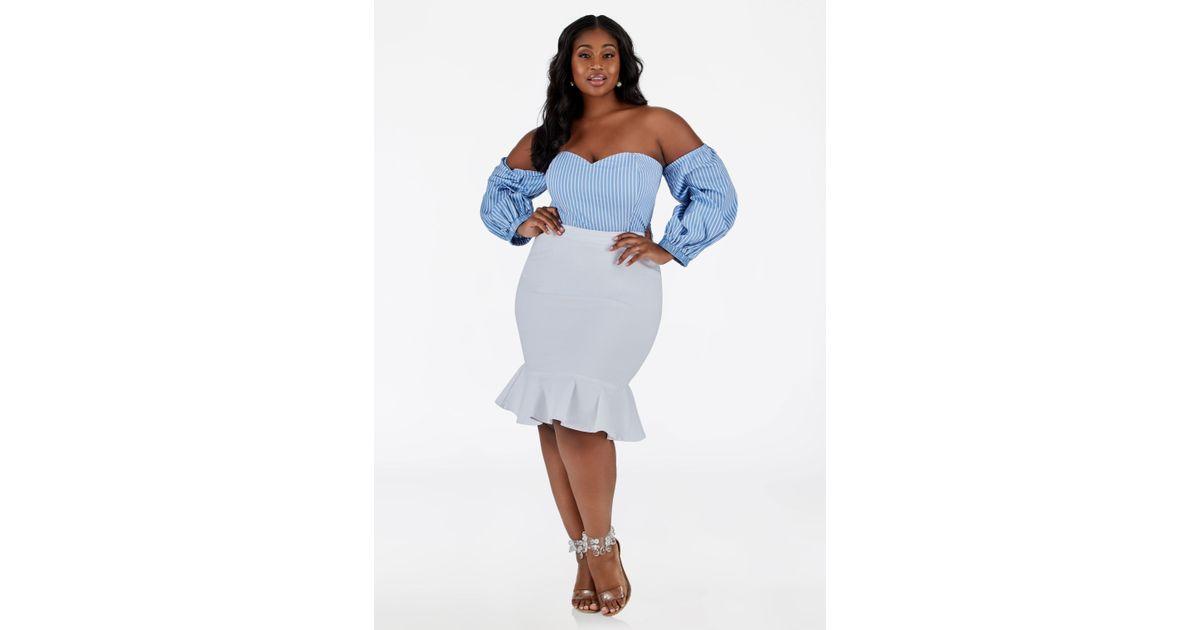 e37020be4db Lyst - Ashley Stewart Plus Size Denim Peplum Skirt in White