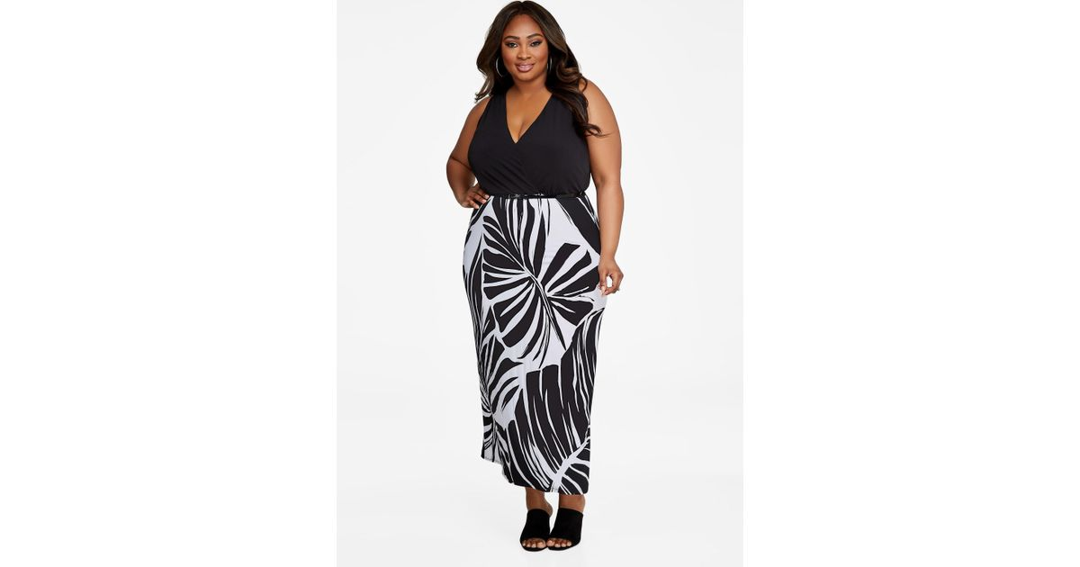 6a2aad08cbb Lyst - Ashley Stewart Plus Size Palm Print Skirt Belted Maxi Dress in Black