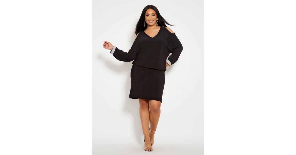 b9bf4ab2fad Lyst - Ashley Stewart Plus Size Rhinestone Cuff Blouson Dress in Black