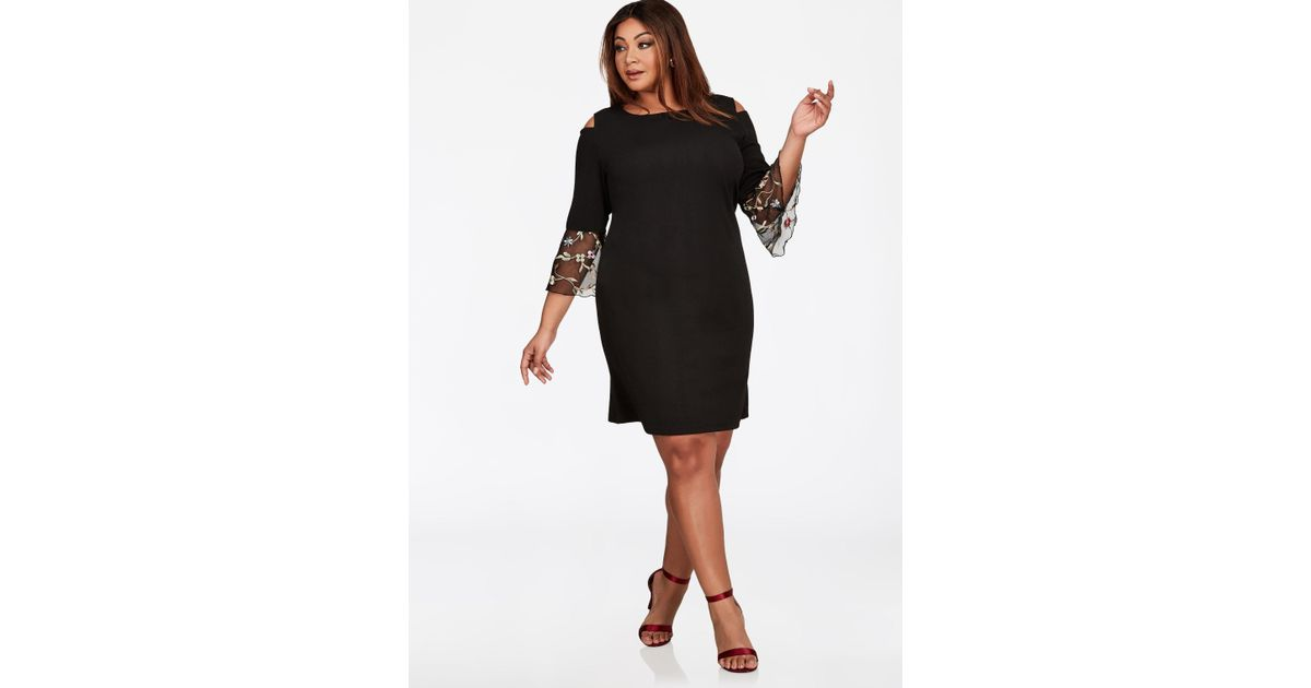Lyst Ashley Stewart Embroidered Mesh Bell Sleeve Dress In Black