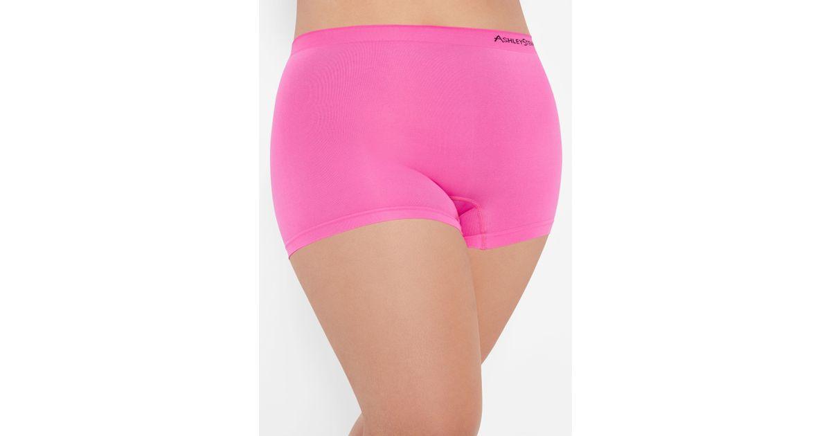 ee8ad1a7448 Lyst - Ashley Stewart Plus Size Seamless Logo Boyshort Panty in Pink