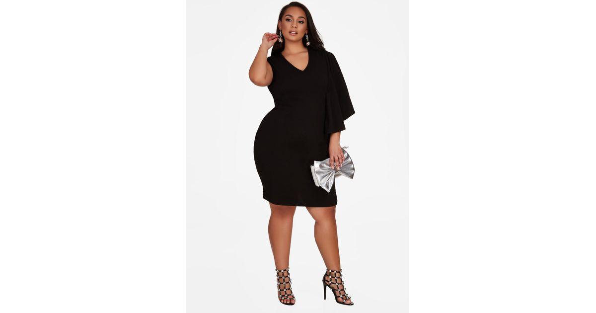 Lyst Ashley Stewart Single Cape Sleeve Dress In Black