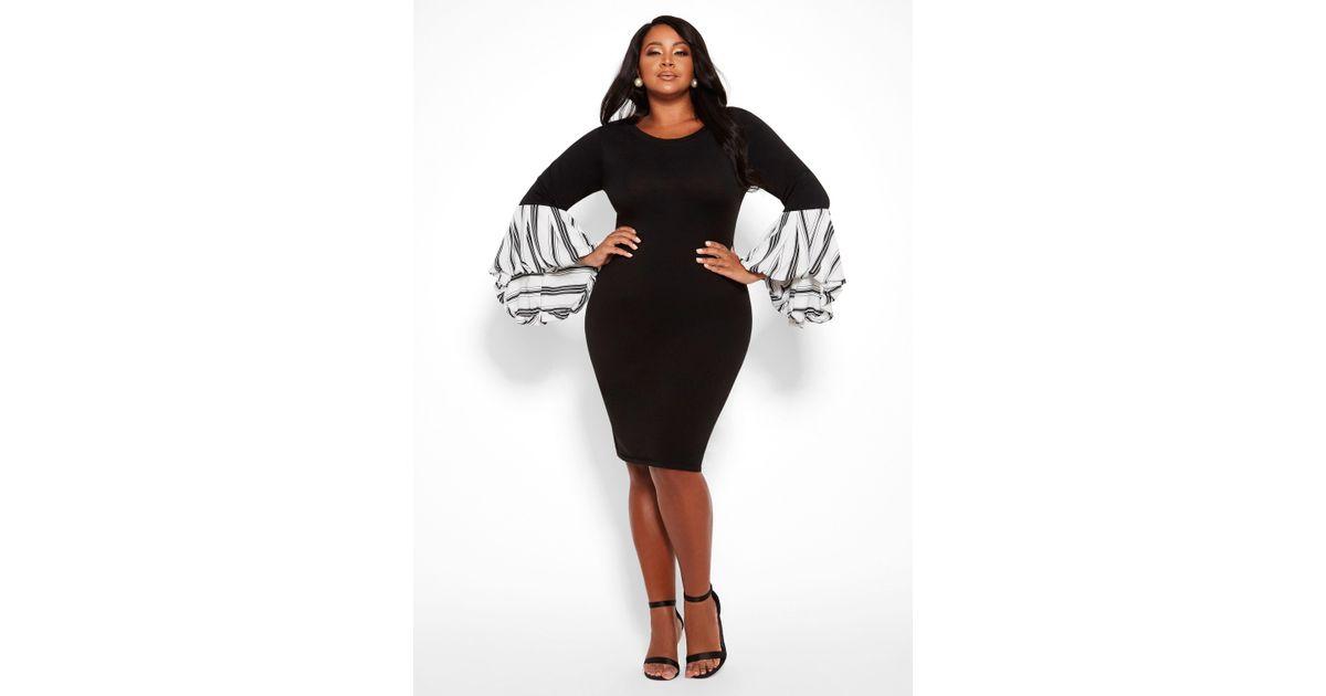 Lyst Ashley Stewart Plus Size Contrast Balloon Sleeve Sweater