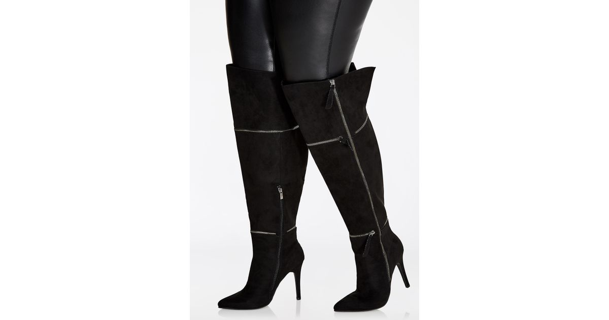 6f7818333b6 Lyst - Ashley Stewart Over-the-knee Multi-zip Heeled Boots - Wide-width