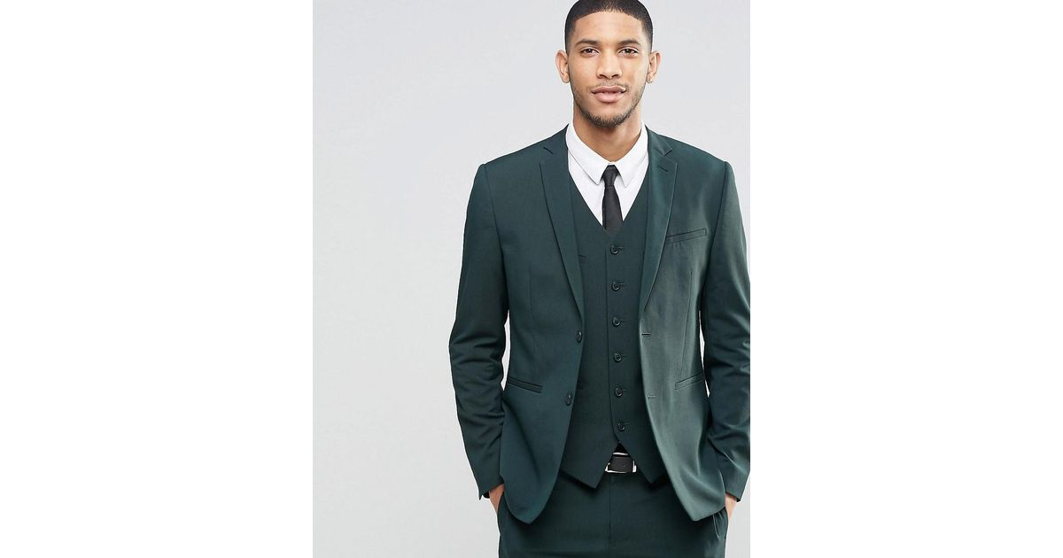 Lyst Asos Slim Suit Jacket With Stretch In Dark Green In Green For Men