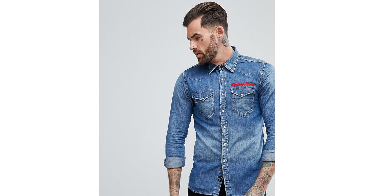 Lyst replay embroidered denim shirt in blue for men for Replay blue jeans t shirt