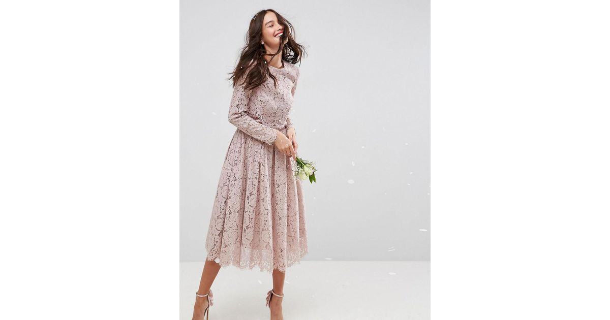 Lyst Asos Design Bridesmaid Lace Long Sleeve Midi Prom Dress In