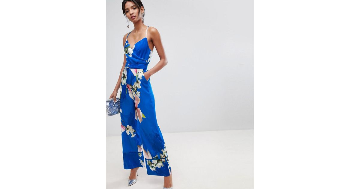 77c7979a8c Lyst - Ted Baker Wide Leg Jumpsuit In Harmony Floral Print in Blue