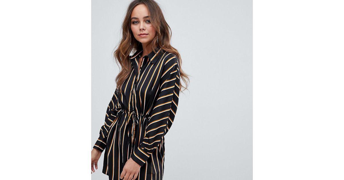 0f39b69bb9d3 Boohoo Tie Waist Shirt Dress In Black Stripe in Black - Lyst
