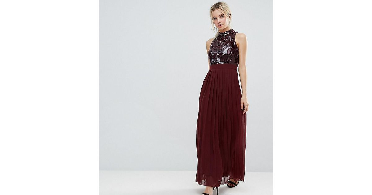 55463d7276 Lyst - Little Mistress Allover Sequin Top Maxi Dress With Pleated Skirt in  Red
