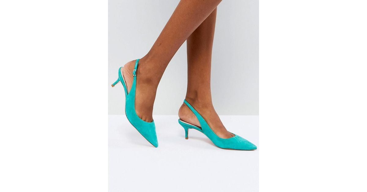 3cdf7e4a6aeb Lyst - Dune Kitten Heel Sling Back Shoe In Teal Suede in Green