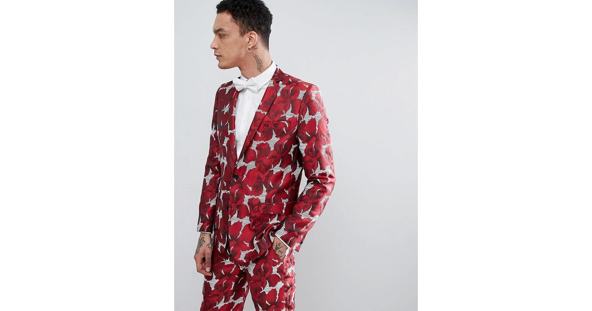 ad37ecc4d1a2c Lyst - ASOS Skinny Suit Jacket In Red Floral Jacquard in Red for Men
