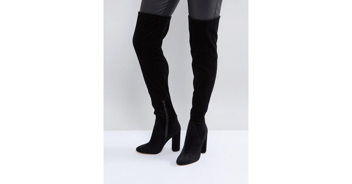 35fd2d4ed73 Lyst - ALDO Tenesha Velvet Over The Knee Boots in Black