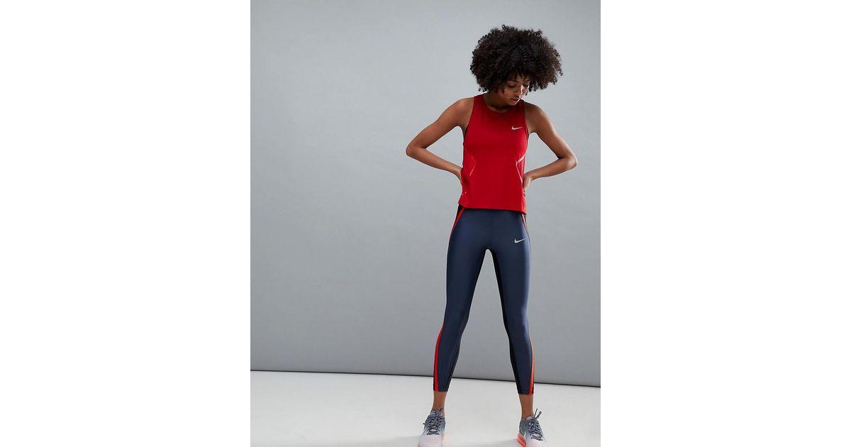 Nike Running Power Speed Crop Leggings In Navy Colourblock in Blue - Lyst d0019cb3c