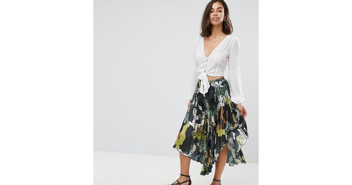 a03ea14131f0 Lyst - ASOS Satin Pleated Midi Skirt In Camo Print