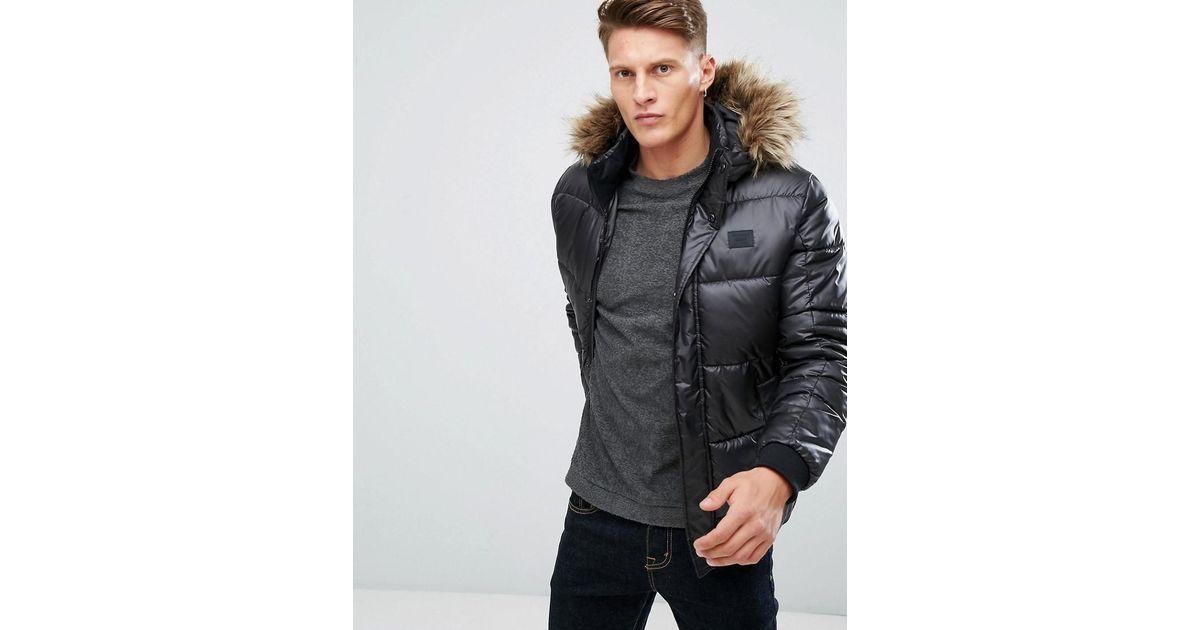 Core In amp; Black Lyst Jones Jack Fur Jacket Faux Puffer Hood With qtwvRa