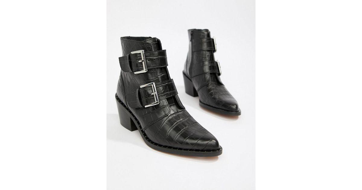 17ac9b8189973 Kurt Geiger Kurt Geiger Denny Black Croc Effect Black Ankle Boots With  Buckle Detail in Black - Save 32% - Lyst