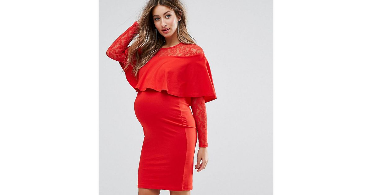 ASOS Maternity Nursing Ruffle Front Lace Mix Bodycon Mini Dress - Red Asos Maternity With Paypal Free Shipping Buy Cheap Pay With Paypal Buy Cheap Lowest Price Fast Delivery For Sale Sk9VSR84hF