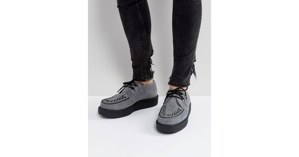 a8528a5e183 Lyst - T.U.K. Platform Creeper Suede Shoes in Gray for Men