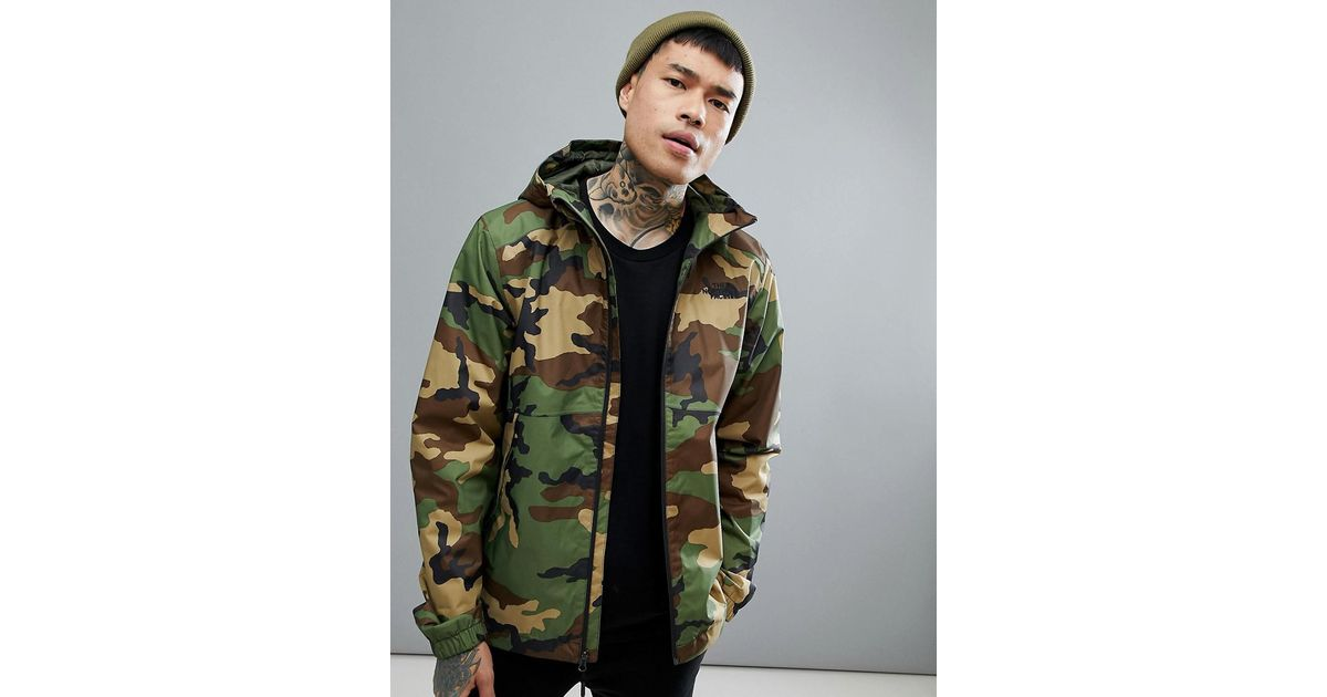 87c4681cd85b9 The North Face Millerton Jacket Hooded Waterproof In Green Camo Print in  Green for Men - Lyst