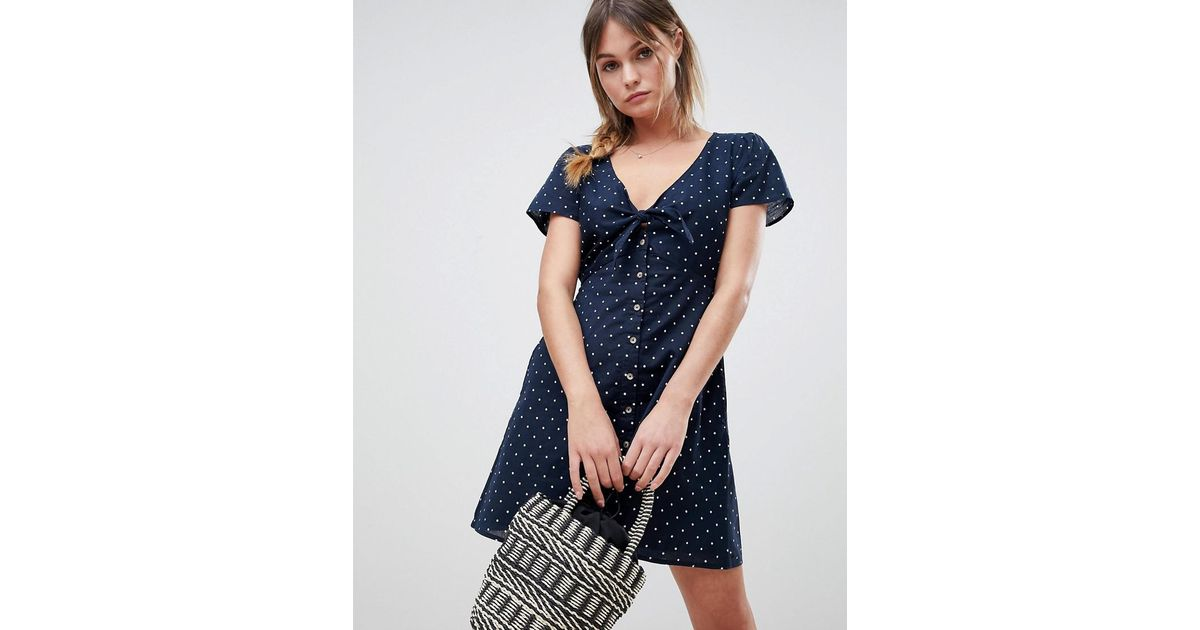 2ca03eff4f1 Lyst - Abercrombie   Fitch Polka Dot Dress With Knot Front in Blue