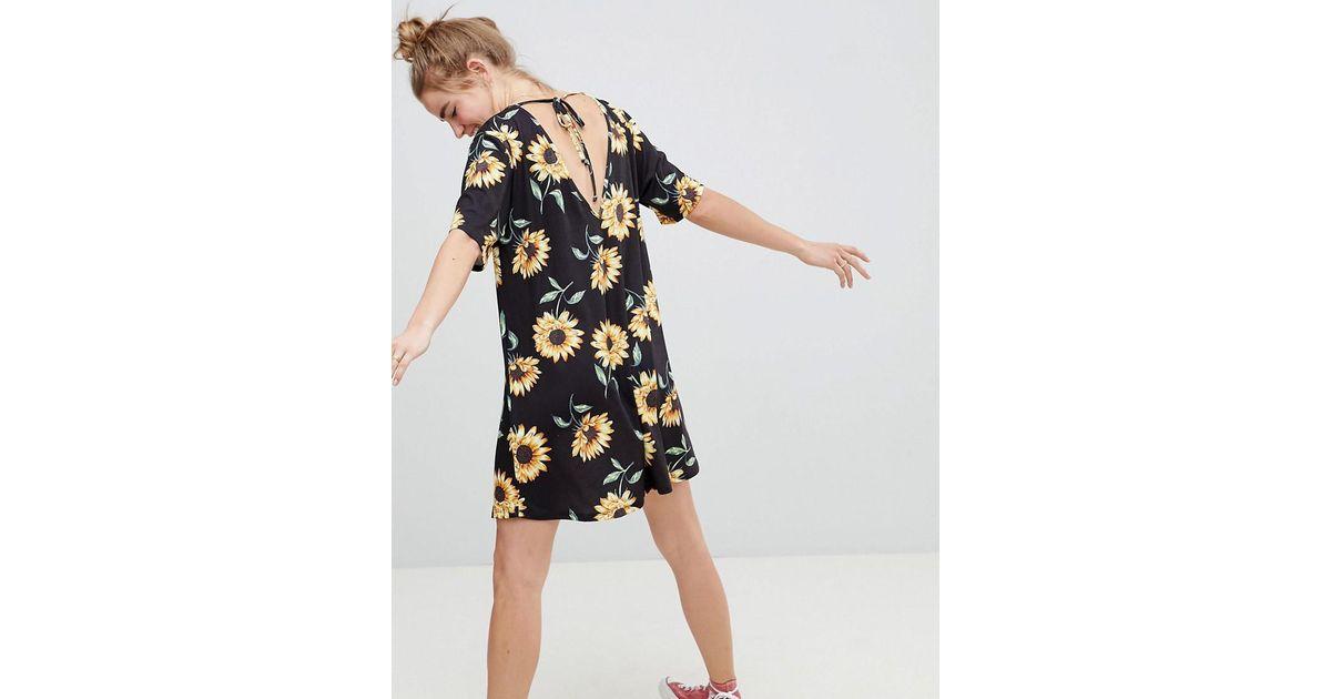 cebd945a4f2 ASOS Sunflower Print V Neck Swing Dress - Lyst