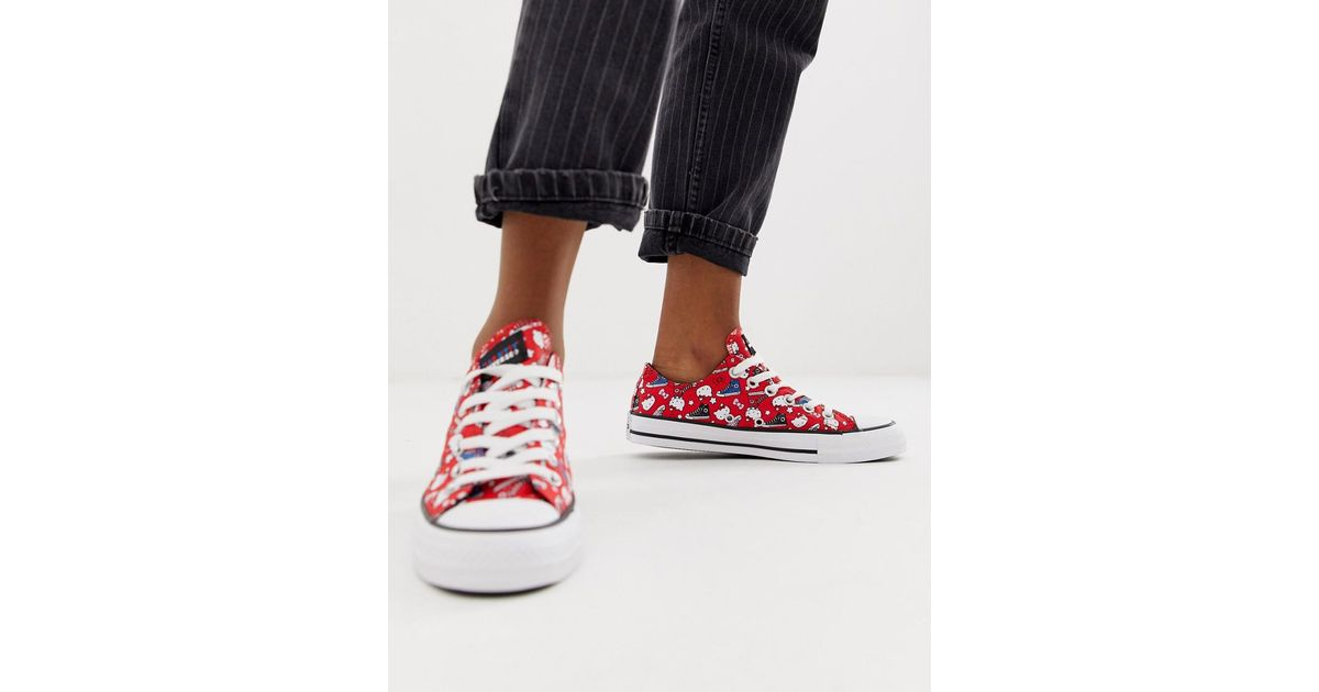 Converse X Hello Kitty Chuck Taylor Ox Red All Over Print Trainers