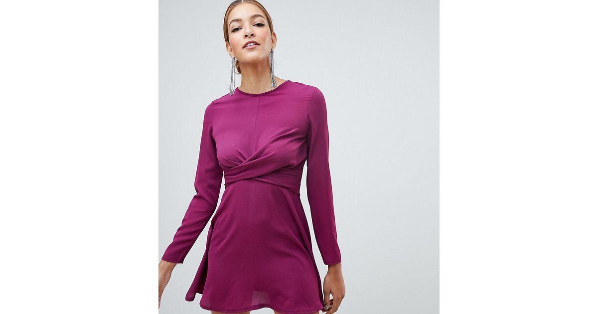 dfe9b5f7cebb Lyst - Boohoo Exclusive Twist Detail Skater Dress In Purple in Purple