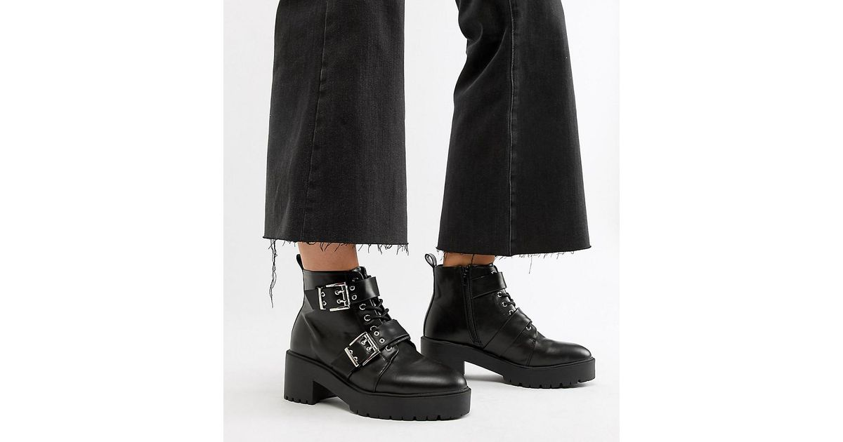e7c8cd7349d ASOS Wide Fit Rouge Chunky Lace Up Buckle Boots in Black - Lyst
