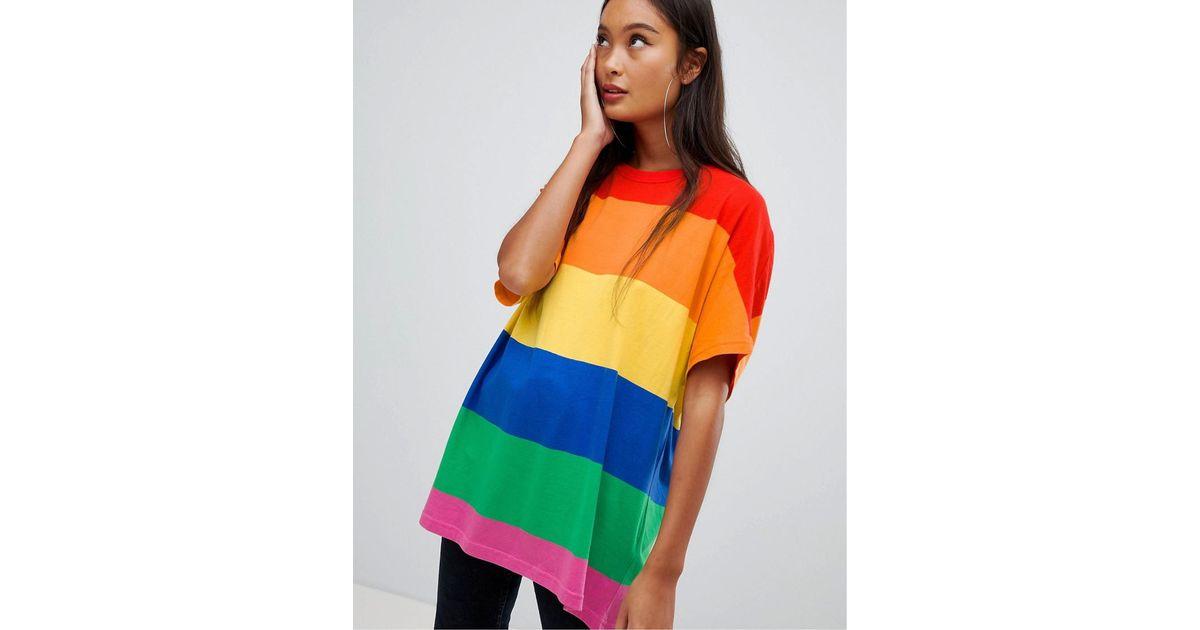 bebe265d8d Bershka Bold Stripe Rainbow Tee In Multi - Lyst