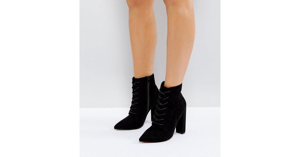 37a37197e71 ASOS Asos Electronic Wide Fit Lace Up Heeled Ankle Boots in Black - Lyst