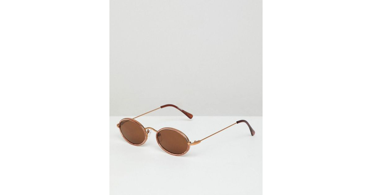 03c2413383 Reclaimed (vintage) Inspired Oval Sunglasses In Brown in Brown for Men -  Lyst