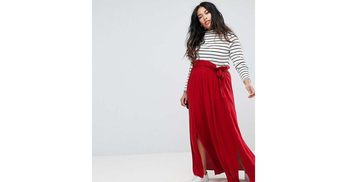 lyst asos maxi skirt with belt and thigh split in